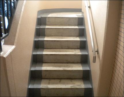 階段端部防水施工後