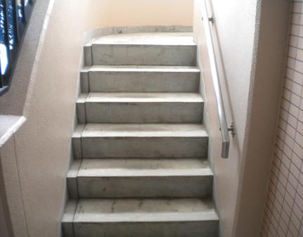 階段端部防水施工前